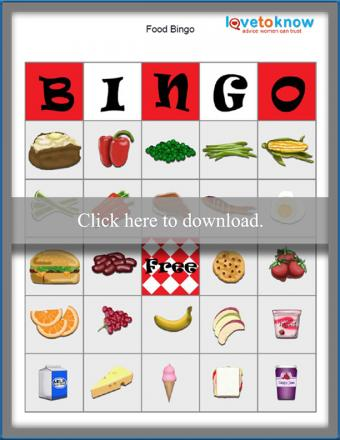 Printable Food Bingo game boards