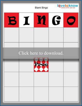 Printable blank Bingo card