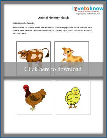 Printable Animal Memory Match game