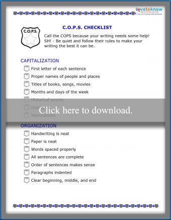 SH! COPS Writing and Editing Checklist