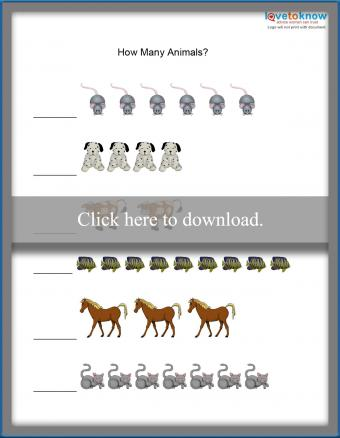 counting animals sheet