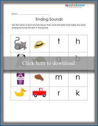 Ending Sounds Printable