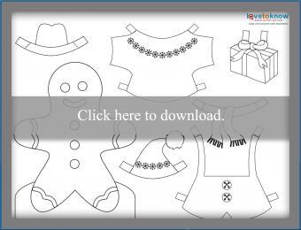 Gingerbread boy paperdoll printable PDF