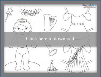 Angel girl paperdoll printable PDF