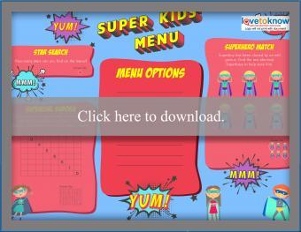 Full color superhero kids' menu games