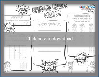 B & W superhero kids' menu games