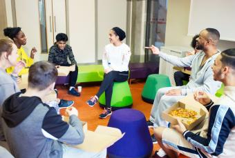 group of teens playing a game