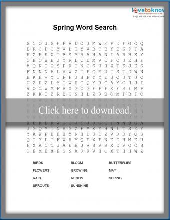 Spring word seach printable