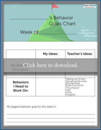 Classroom Behavior Goals Chart for School