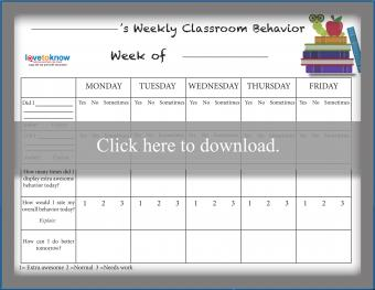 Weekly Classroom School Behavior Chart Free Printable