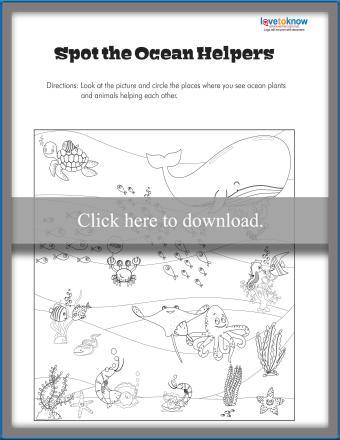 Spot the Ocean Helpers Worksheet