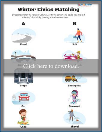 Winter Civics Matching Worksheet