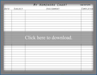 Homework Chart List
