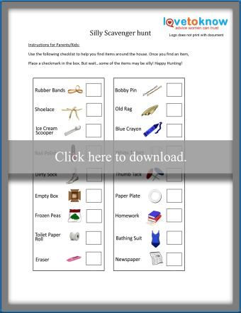 Silly Scavenger Search printable