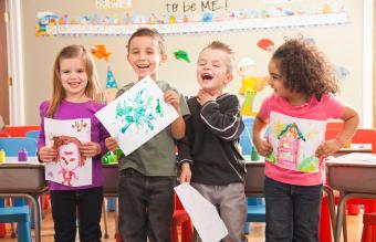 Children during art classes