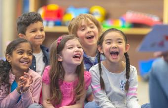 Little kids in classroom for seek and find