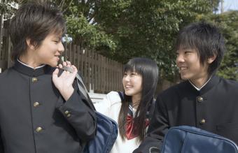 Japanese boys wearing gakuran uniform
