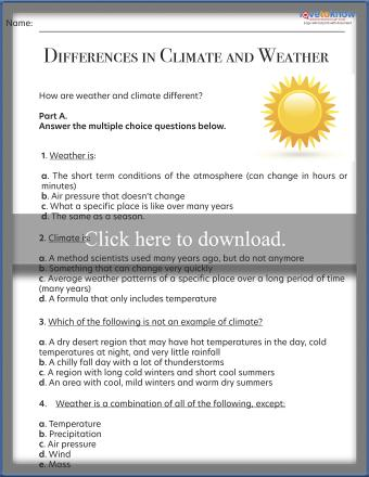 Differences Between Climate and Weather Worksheet