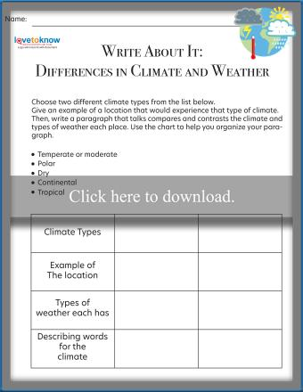 Write About It! Climate and Weather Printable