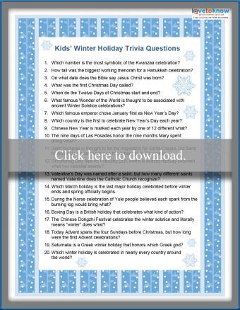 Kids' Winter Holiday Trivia