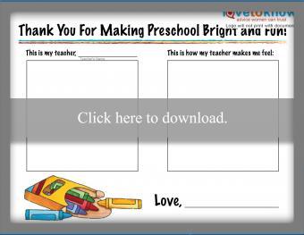 Preschool Teacher Thank You Note