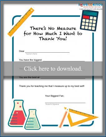 Measure of Thanks Teacher Note
