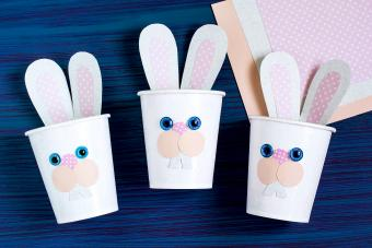 Homemade making of boxes for sweets in form of Easter hare
