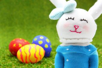 Rabbit doll from sock handmade and easter egg