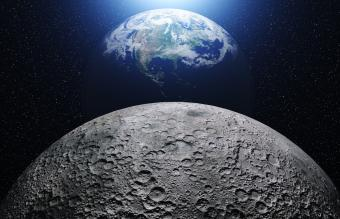 Moon and planet earth
