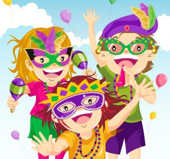 Kids dressing up in Mardi Gras parade