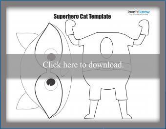 Superhero cat puppet template