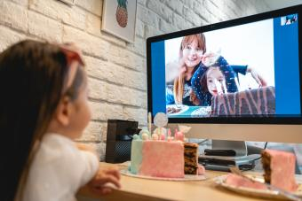Video conference for kids celebrating birthday