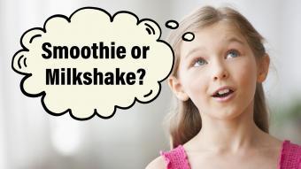 Girl thinking about smoothie or milkshake