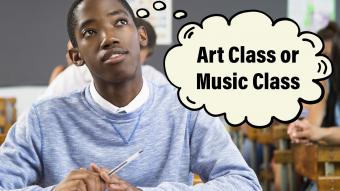 Male student thinking about art class or music class