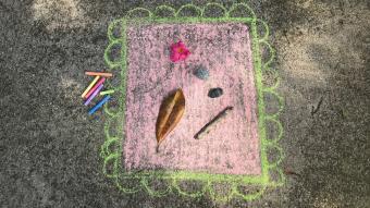 Found Art Frame Sidewalk Chalk Art