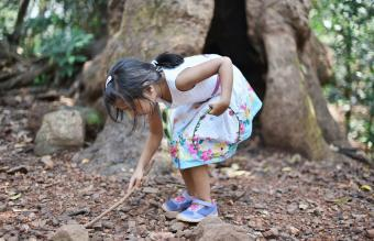 girl exploring in the nature