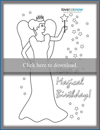 Printable magic fairy birthday card to color