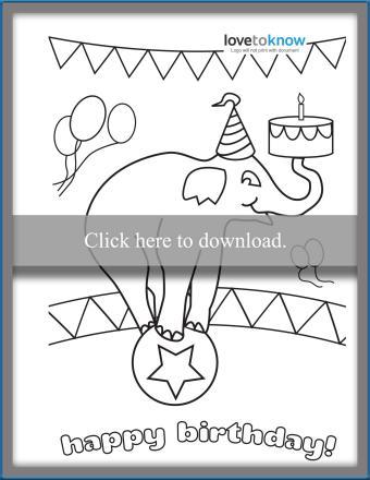 Printable circus elephant birthday card to color