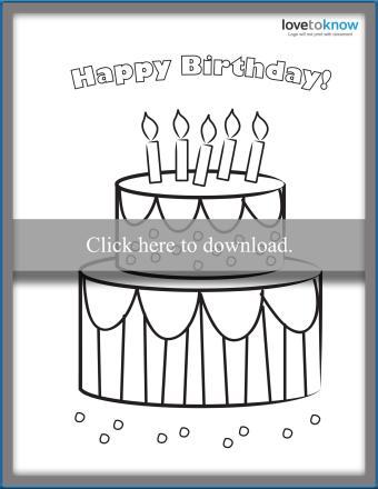 Printable birthday cake card to color