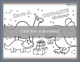Printable dinosaur birthday card to color