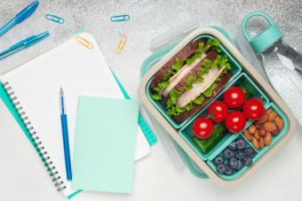 School supplies and lunch box