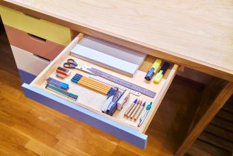 Neat drawer with assorted stationery for school
