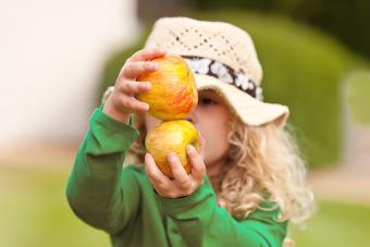 Young girl holding two organic apples.