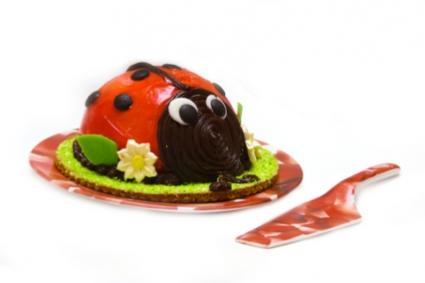 Image of a lady bug birthday cake