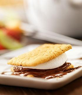 A S'more sitting on a plate