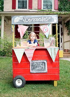 Little girl running a lemonade stand