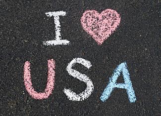 I love the USA sidewalk chalk art