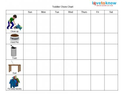 graphic relating to Printable Chore Chart for Kids titled Printable Chore Charts for Young children LoveToKnow