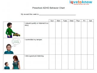 Kids Behavior Chart For Preschoolers With Adhd