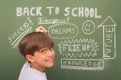 boy with chalkboard background